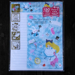 KJ02823-Kamio Japan Fairy Tale World Alice in Wonderland Small Letter Set with Sticker Strip