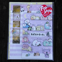 KJ03251-Kamio Japan Snooze Button Buddies Small Letter Set with Sticker Strip