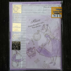 DJ12271-Disney Japan Alice in Wonderland Time for Tea Small Letter Set with Sticker Strip