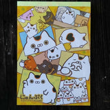 MM06701—San-X Nyanpuku Lucky Cat Good Fortune Large Memo Pad with Bonus Sticker Sheet-Photo Collage