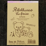 MM29801-San-X Rilakkuma Strawberries & Paris Large Memo Pad with Bonus Sticker Sheet-Pink Checks