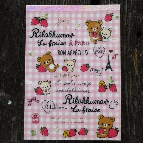 MM29801-San-X Rilakkuma Strawberries & Paris Large Memo Pad with Bonus Sticker Sheet-Pink Checks - Fantastic Spaceship