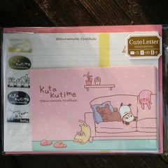 MV39324-Mind Wave Stationery Japan Kuta Kutime Napping Animals Small Letter Set with Sticker Strip