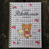 NY-91201-San-X Rilakkuma Strawberries & Paris Large Spiral Notebook-Checkered