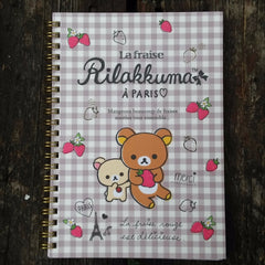 NY91201-San-X Rilakkuma Strawberries & Paris Large Spiral Notebook-Checkered