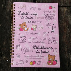NY91301-San-X Rilakkuma Strawberries & Paris Large Spiral Notebook-Pink