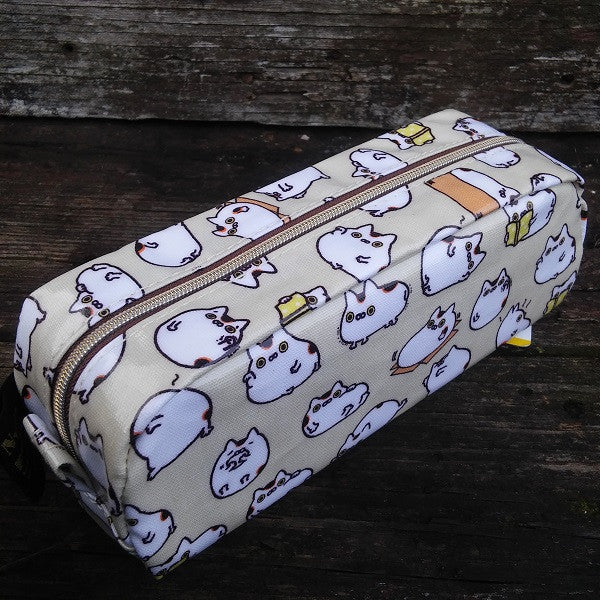 PY36601-San-X Nyanpuku Lucky Cat Good Fortune Pen Pouch-Beige