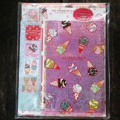 QL21004-Q-Lia Japan Ice Cream Magic Hologram Large Letter Set with Sticker Strip