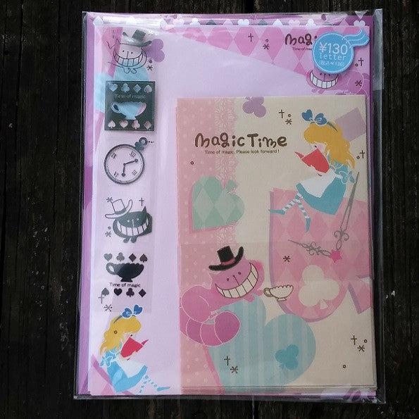 QL40286-Q-Lia Japan Magic Time Alice in Wonderland Small Letter Set with Sticker Strip