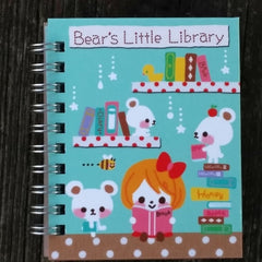QL50888-Q-Lia Designs Bear's Little Library Hardcover Pocket Spiral Notebook