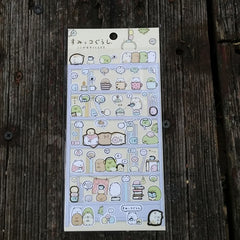 SE18701-San-X Sumikko Gurashi Corner Buddies Home Alone Sticker Sheet-Shelving Unit