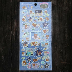 SE22601-San-X Rilakkuma Galaxy Glow in the Dark Sticker Sheet-Blue