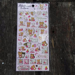 SE26101-San-X Rilakkuma Strawberries & Paris Sticker Sheet-Pink Hearts