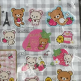 SE26102-San-X Rilakkuma Strawberries & Paris Sticker Sheet-Checkered