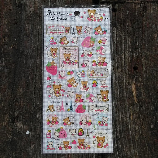SE26102-San-X Rilakkuma Strawberries & Paris Sticker Sheet-Checkered - Fantastic Spaceship