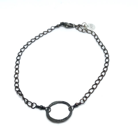 Oxidized Circle Anklet