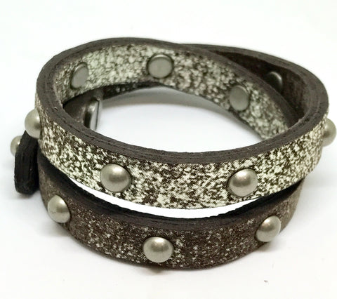 Double Leather Wrap Bracelet/Choker - Dark Brown Metallic/Pewter studs