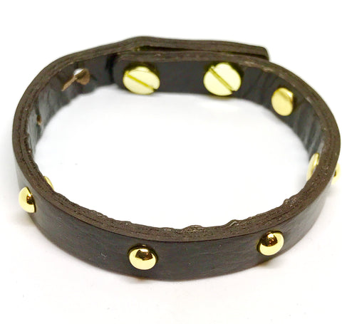 Single Leather Wrap Bracelet - Dark brown w/gold studs