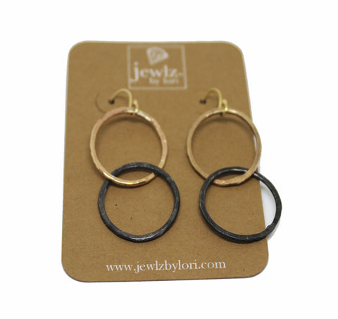 Mixed Metal Double Circle Earrings