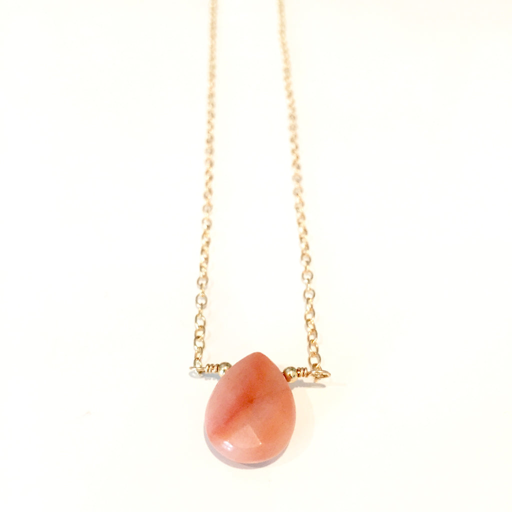 Pink Aventurine Teardrop Pendant Necklace