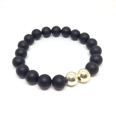 10mm Onyx, Double Sterling Men's stretch bracelet
