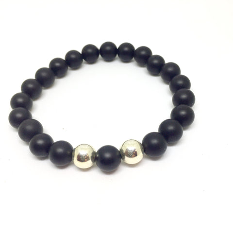 10mm Onyx, Odd Even, Sterling bracelet