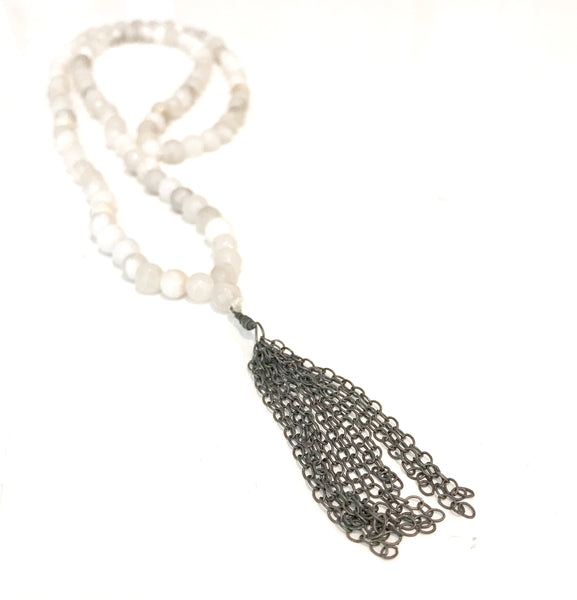 Agate Mala beads with Oxidized Tassle