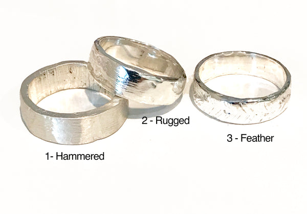 Sterling Hammer Textured band