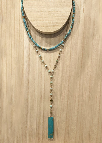 Rosary Opal & Turquoise Pendant