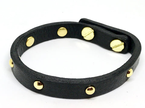 Single Leather Wrap Bracelet - Black w/gold studs