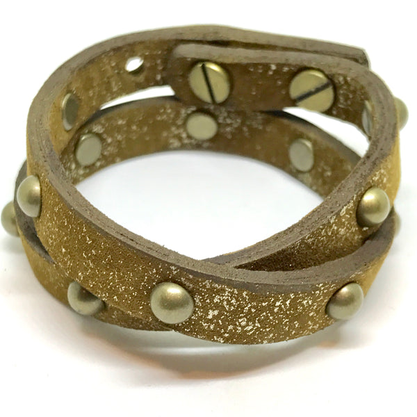 Double Leather Wrap Bracelet/Choker - Tan Metallic/Antique brass studs