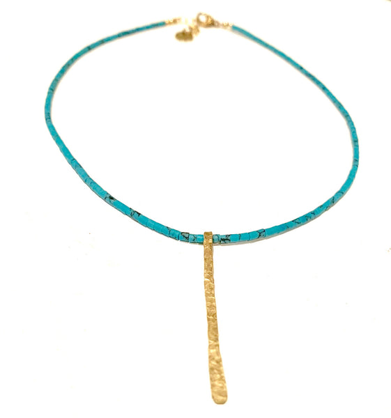 Hammered Bar Turquoise Necklace