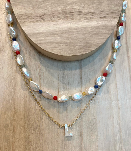 Mother-of-Pearl Initial Necklace