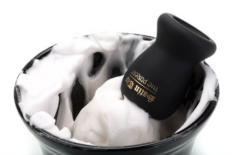 Satin Tip Black Synthetic Shave Brush With Bowl and Lather