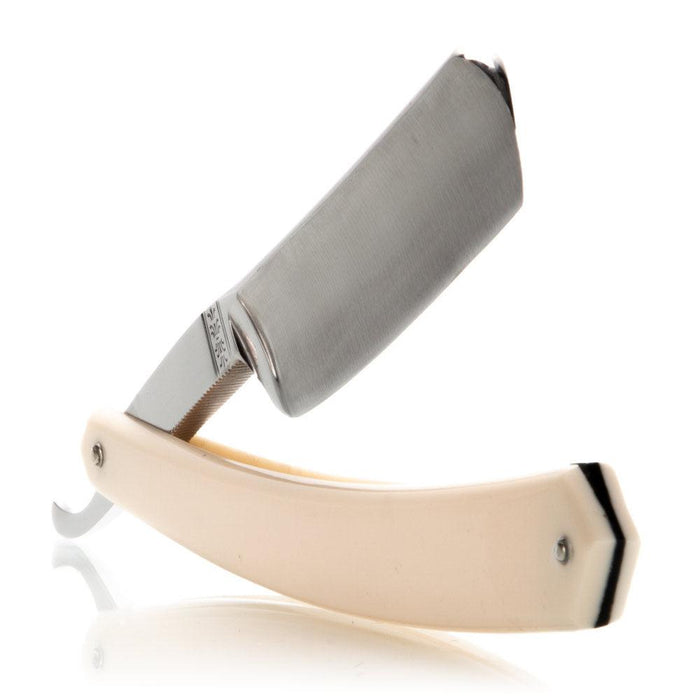 "Stainless Steel 6/8"" Thiers-Issard Straight Razor White Scales"