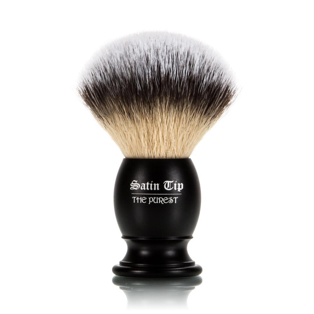Satin Tip - The Purest - Metal Handle Luxury Synthetic Shaving Brush - Frosted Tips | ClassicShaving.com