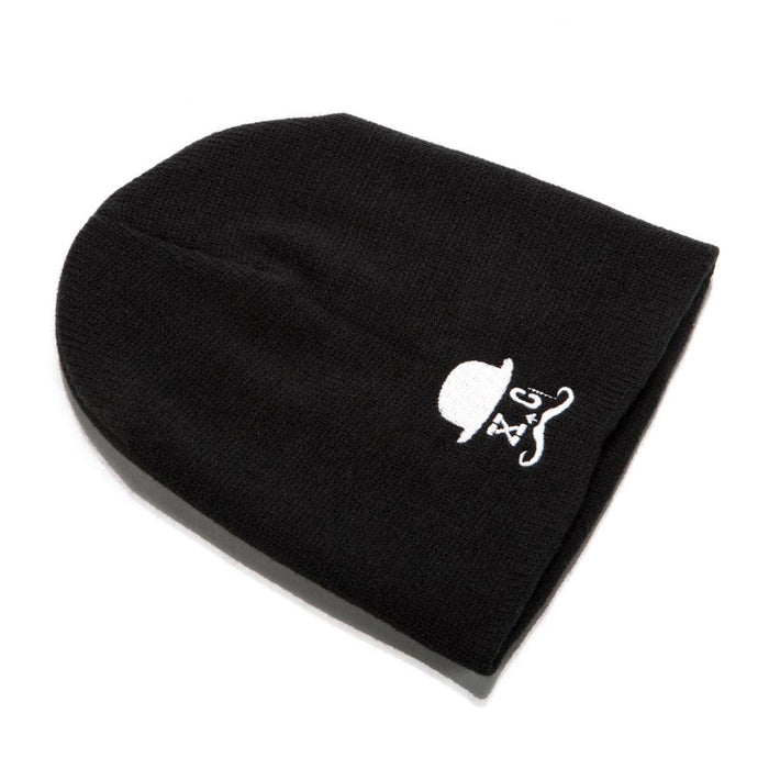 Straight Razor Black Beanie With Logo