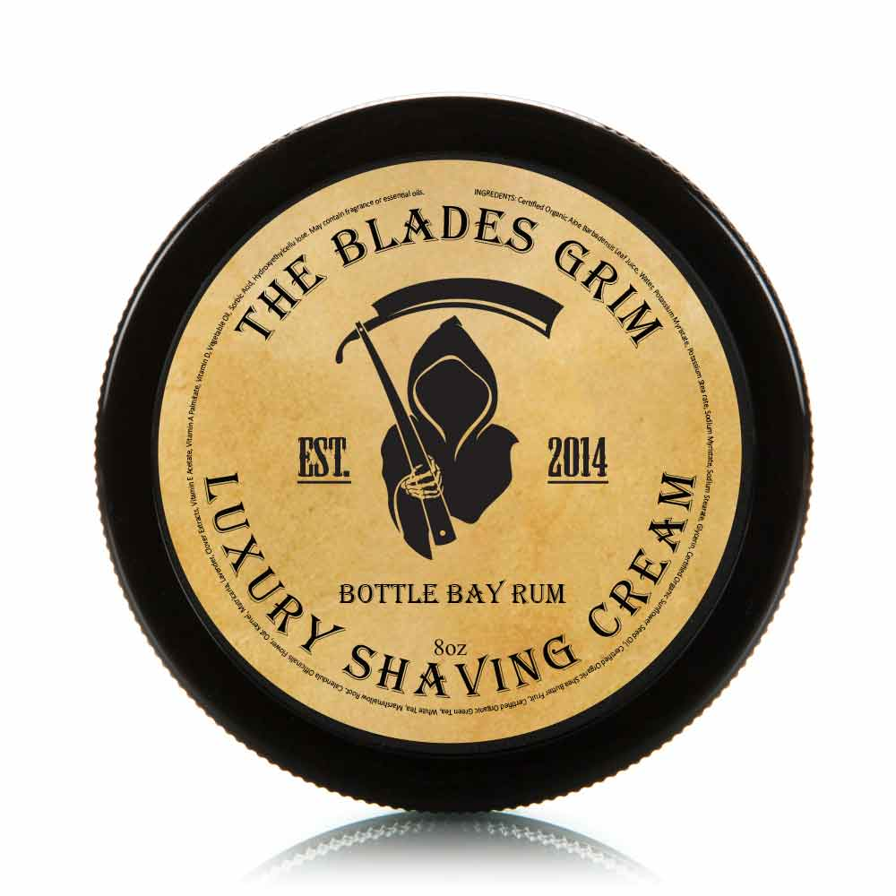 Bottle Bay Rum - The Blades Grim 8 oz Luxury Shaving Cream