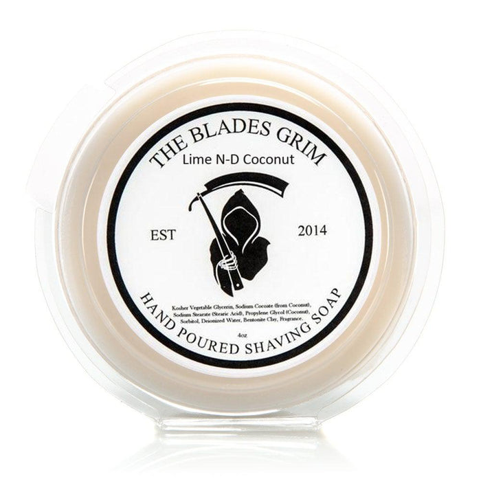 "Lime N-D Coconut - The Blades Grim 3"" Shave Soap"