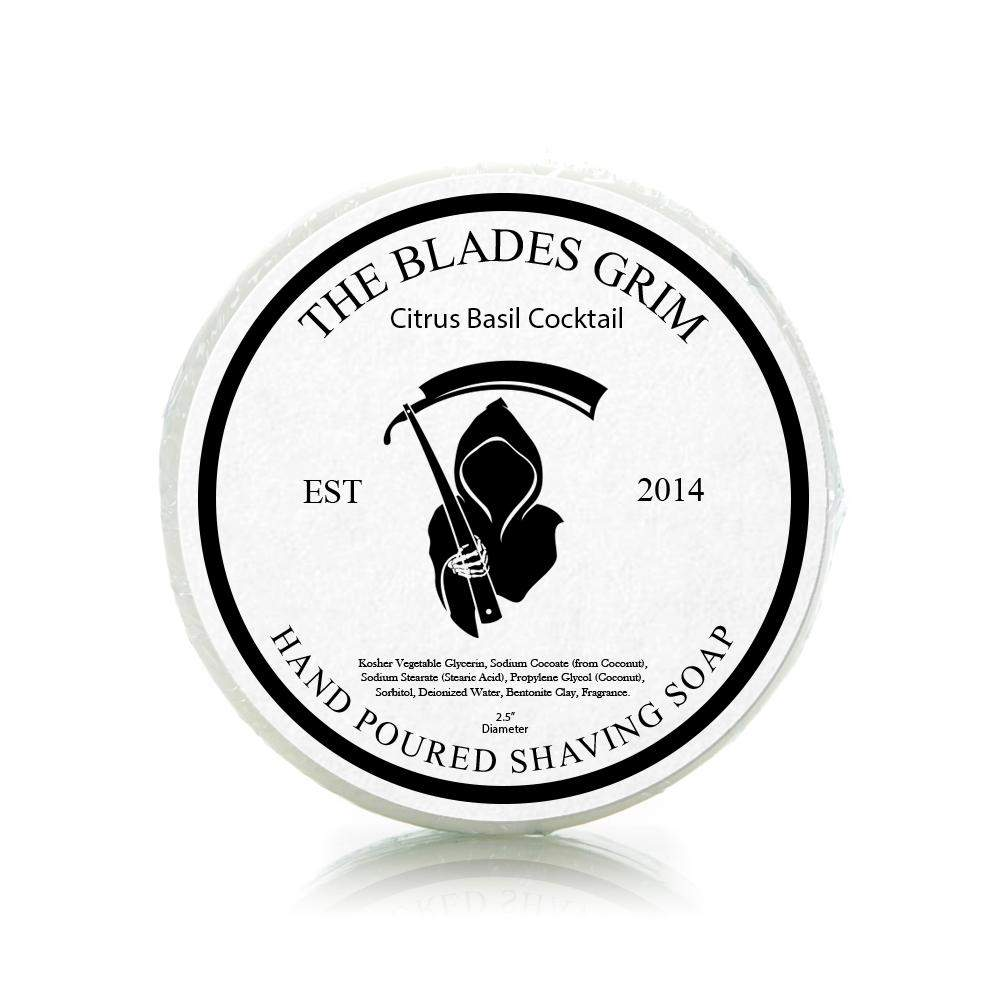 "Citrus Basil Cocktail - The Blades Grim 2.5"" Shaving Soap"
