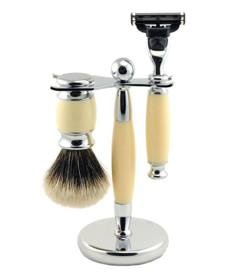 Vintage Blades Brand 3-Piece Razor Set for Mach3 Cartridges - Ivory