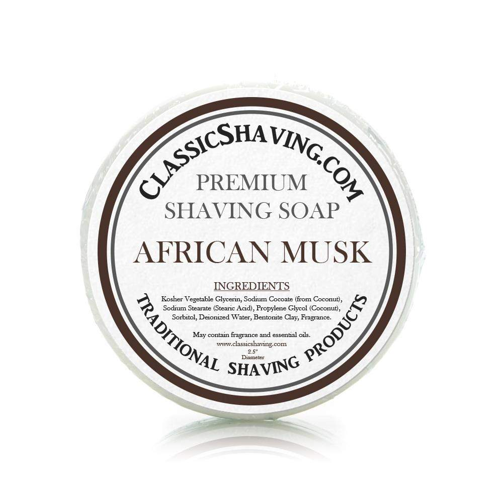 "African Musk Scent - Classic Shaving Mug Soap - 2.5"" Scuttle-"