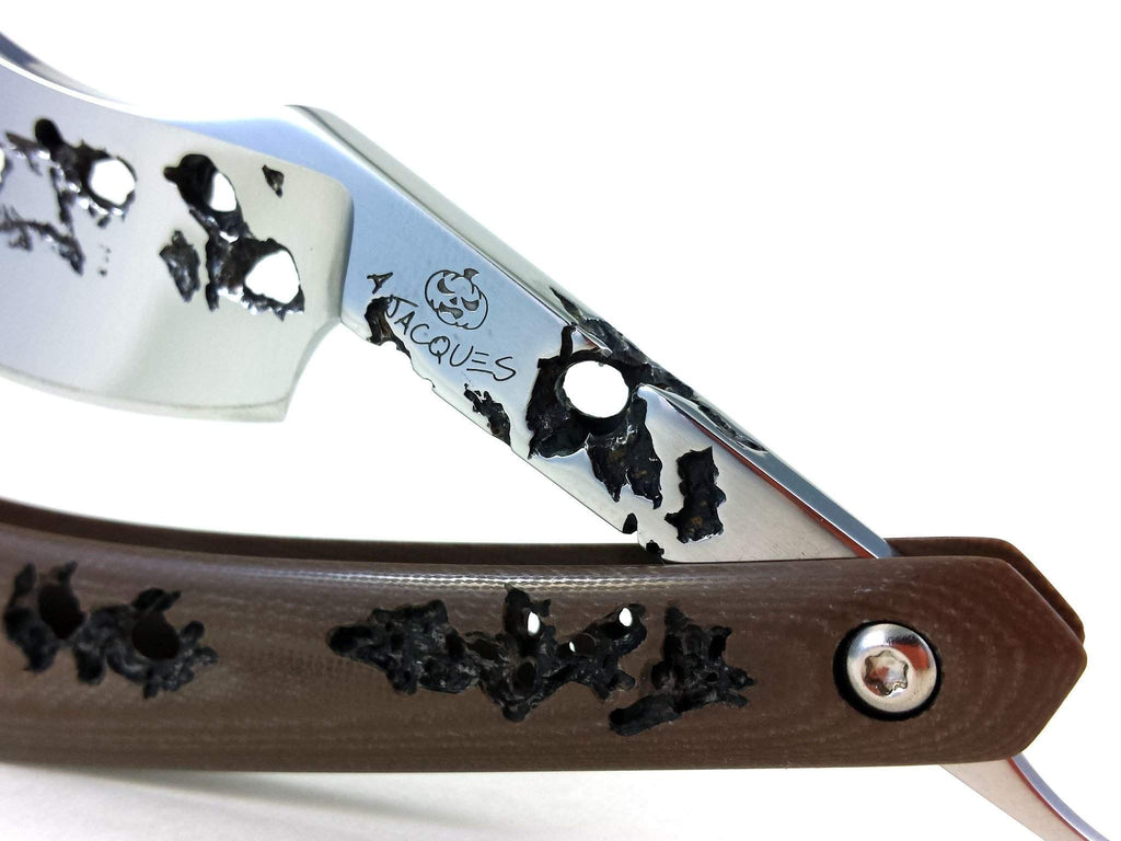 "Alex Jacques 8/8"" Curved Custom Straight Razor Brown hand carved G10 scales-"