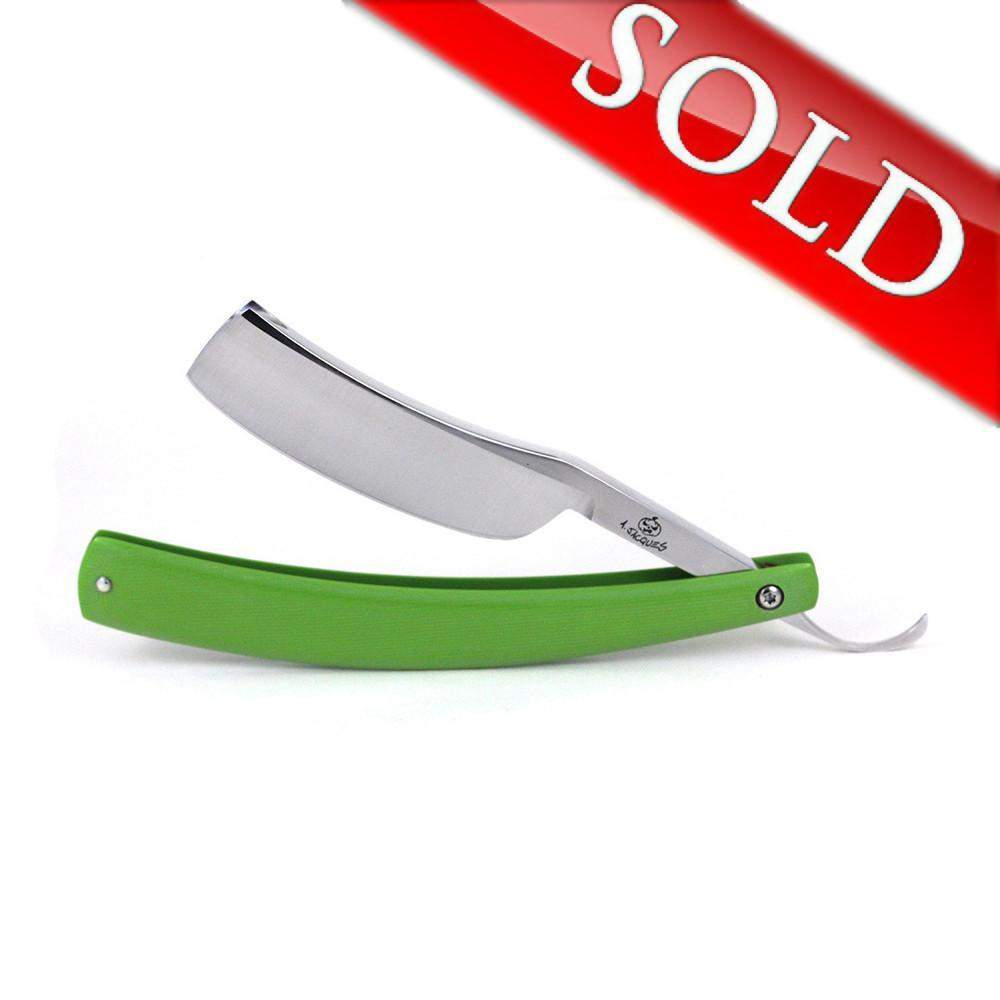 "Alex Jacques ""Production Style"" 7/8"" Razor With Green G10 Scales-"