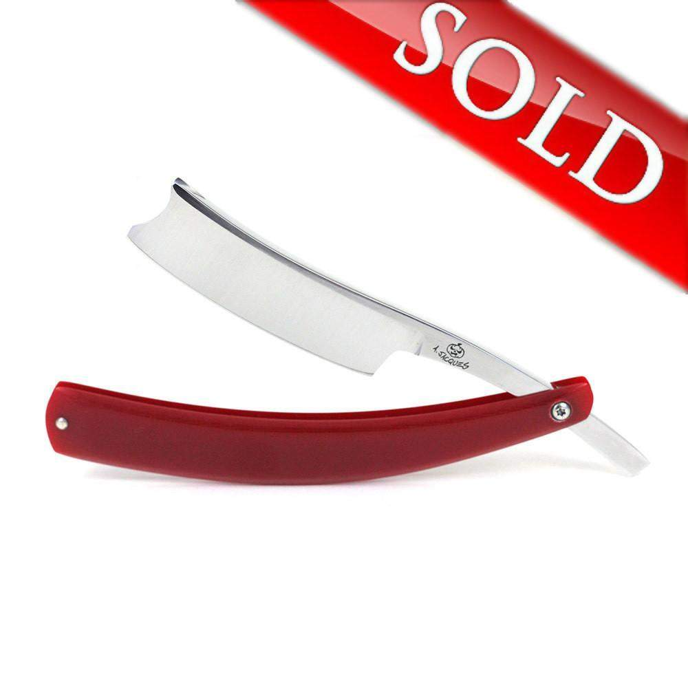 "Alex Jacques ""Production Style"" 7/8"" Razor With Red G10 Scales-"