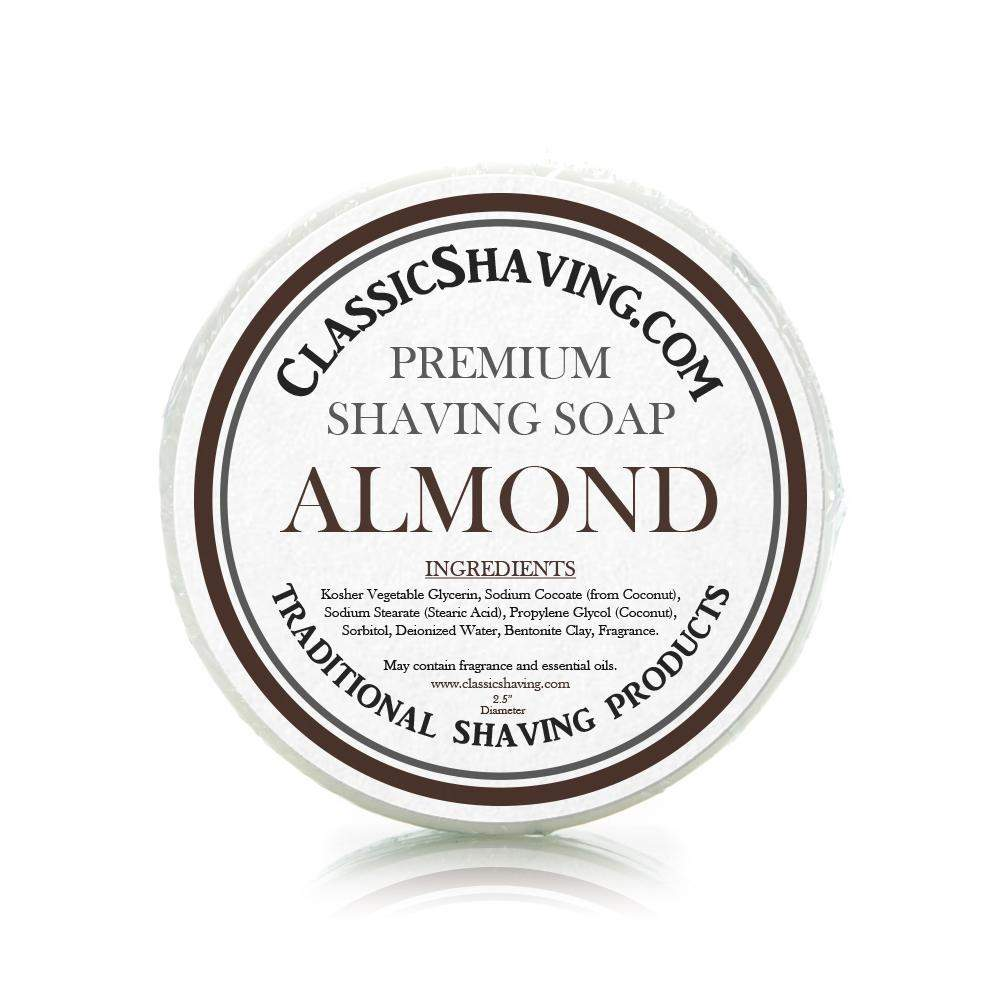 "Almond Scent - Classic Shaving Mug Soap - 2.5"" Regular Size-"