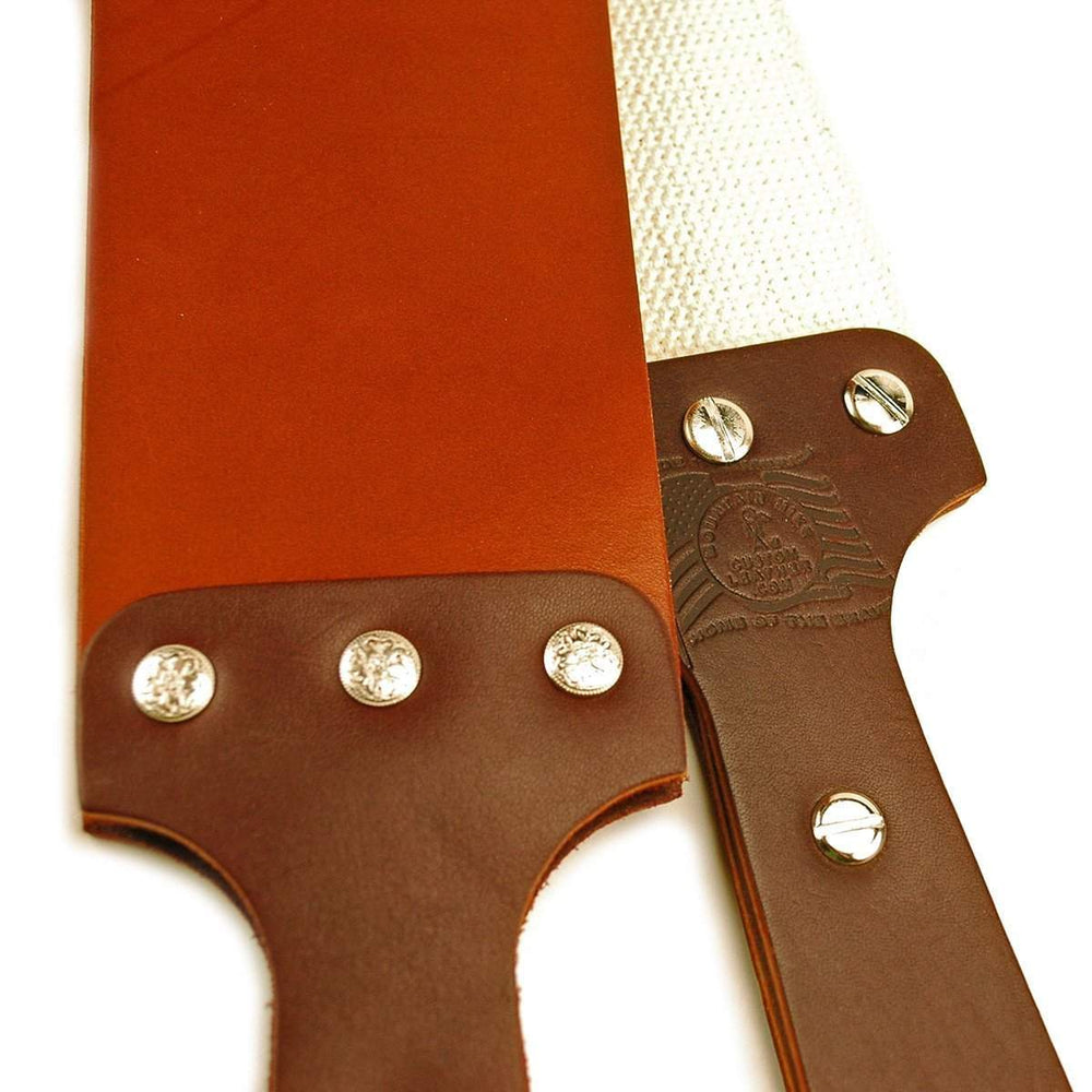 "American Made 3"" Mountain Strop w/ Handles, English Bridle Leather and Cotton Weave-"