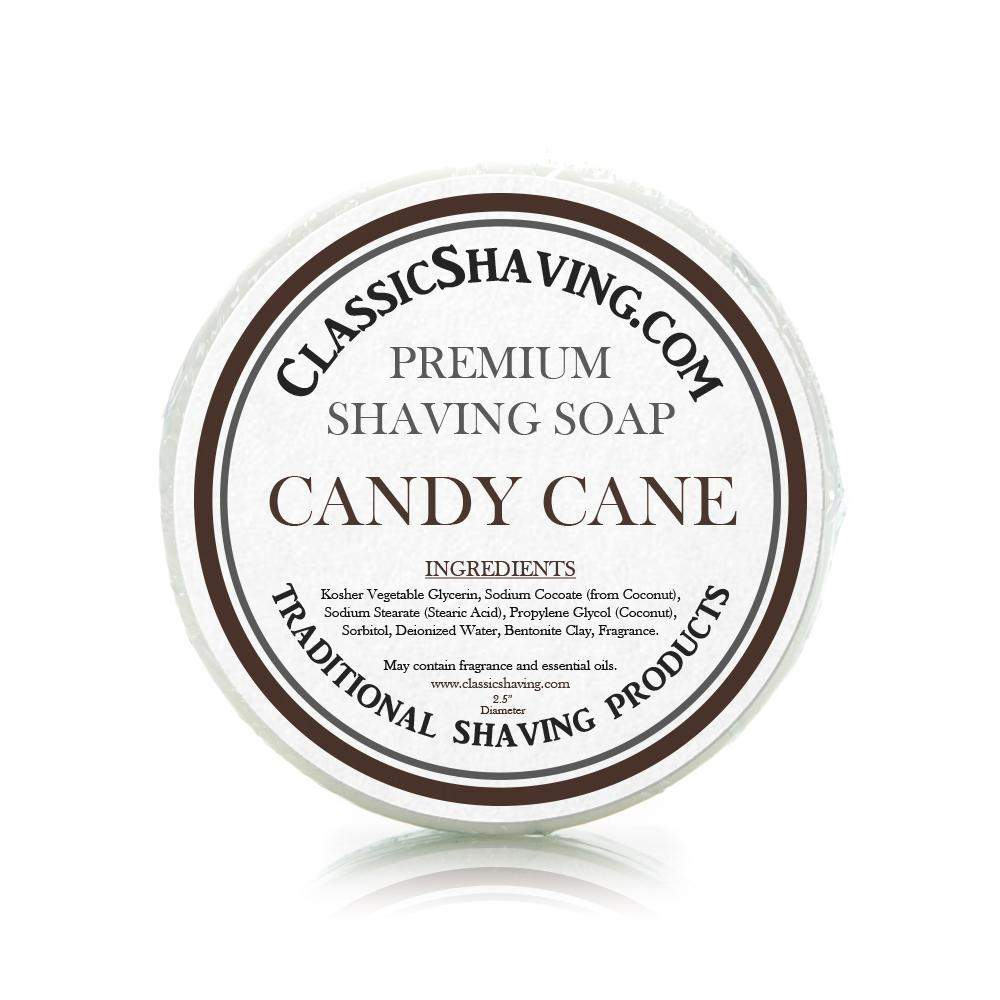 "Candy Cane Scent - Classic Shaving Mug Soap - 2.5"" Regular Size-"