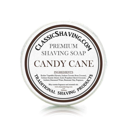 "Candy Cane Scent - Classic Shaving Mug Soap - 2.5"" Scuttle-"