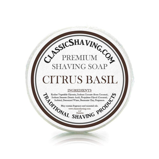 "Citrus Basil Scent - Classic Shaving Mug Soap - 2.5"" Regular Size-"